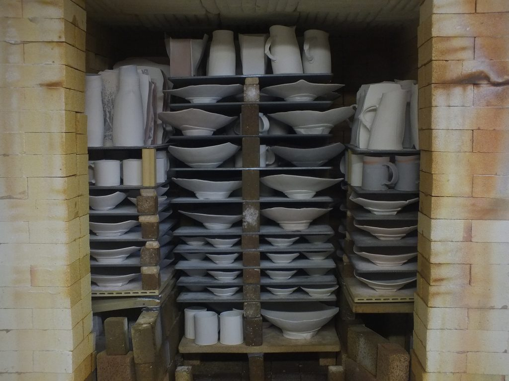 Eric Jensen's gas kiln with Advancer Kiln Shelves.