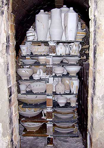Loaded kiln with Advancer kiln shelves at Rock Creek Pottery